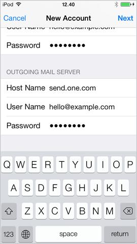 Ajustes para el servidor de correo de salida en iPhone iOS 7.