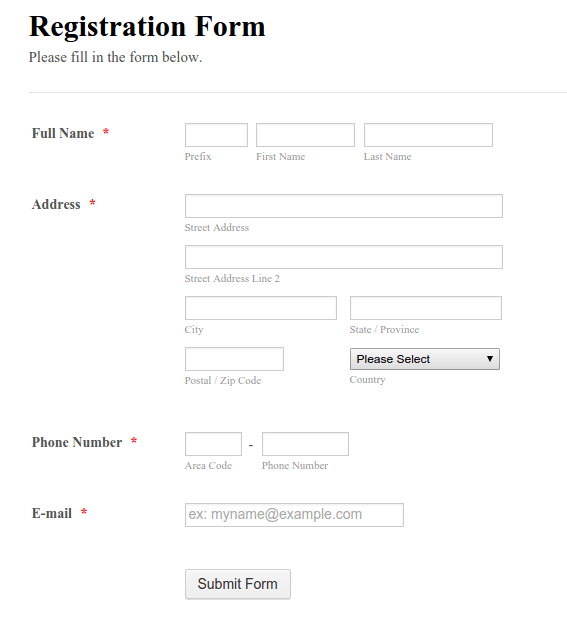 Sample Test Cases for User Registration Form