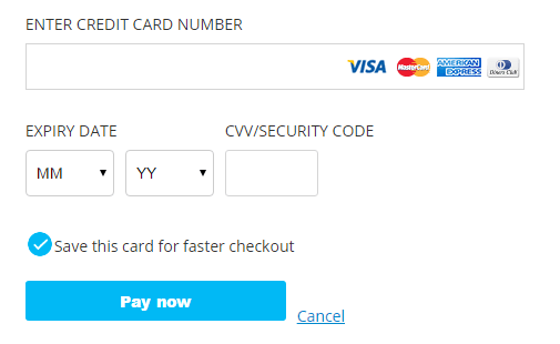 text field credit card test case