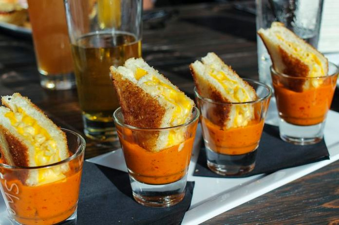 This Is All You Need in Life: Grilled Mac & Cheese in Shots of Tomato Soup.