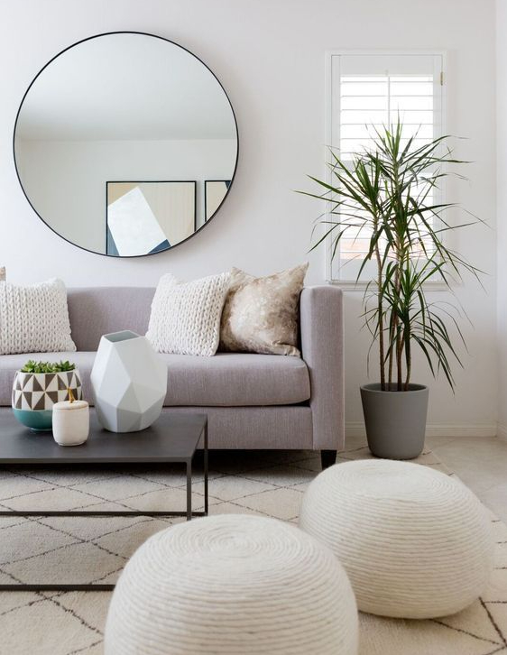 big-circle-mirror-36-inch-round-mirror-round-wall-mirror-with-thin-black-frame-beside-of-window-with-a-gray-vase-for-plant-and-brown-sofa-chair-with-two-ball-chair-and-poly