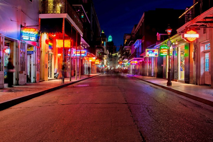 Bourbon Street at Night, New Orleans