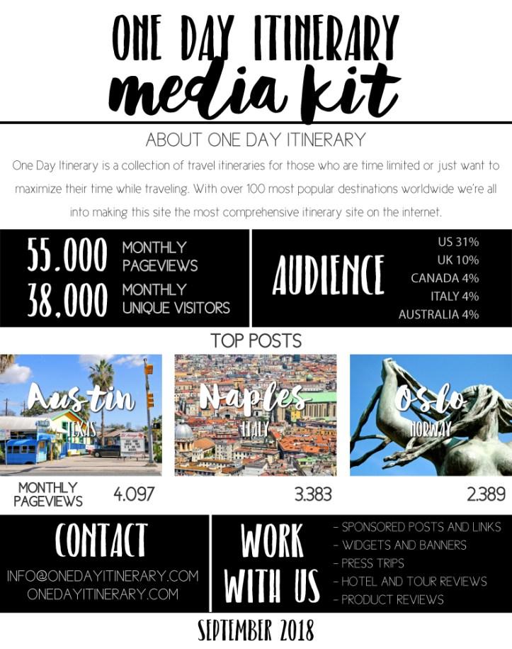 One Day Itinerary Media Kit 2018 Travel Blog