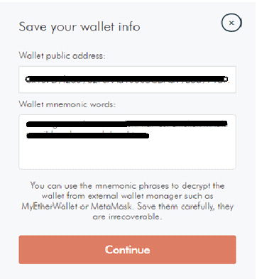 Save your wallet info LockTrip