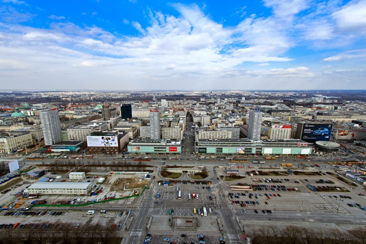 The view from the Palace of Culture and Science