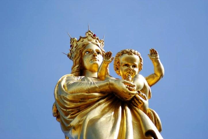 Gold leaf statue of Virgin Mary, Marseillie