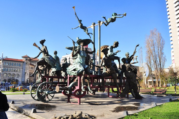 Caragiale monument in front of National Theatre, Bucharest