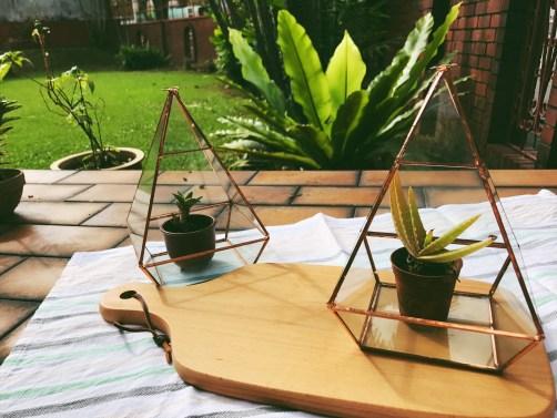 Brass pyramid hanging terrarium / glass geometric planter (S$40)