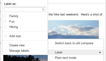 GMail permite incluir etiquetas y estrellas en su nueva ventana de redacción de mensajes