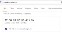 Google ya muestra los resultados del Sorteo Melate