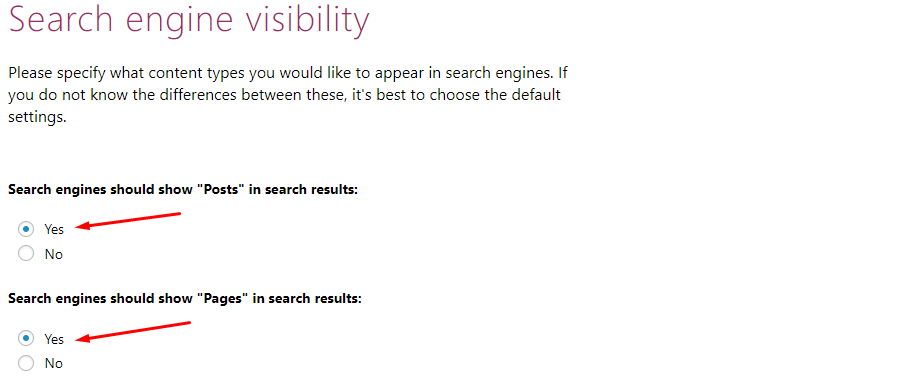 search engine visibility in yoast