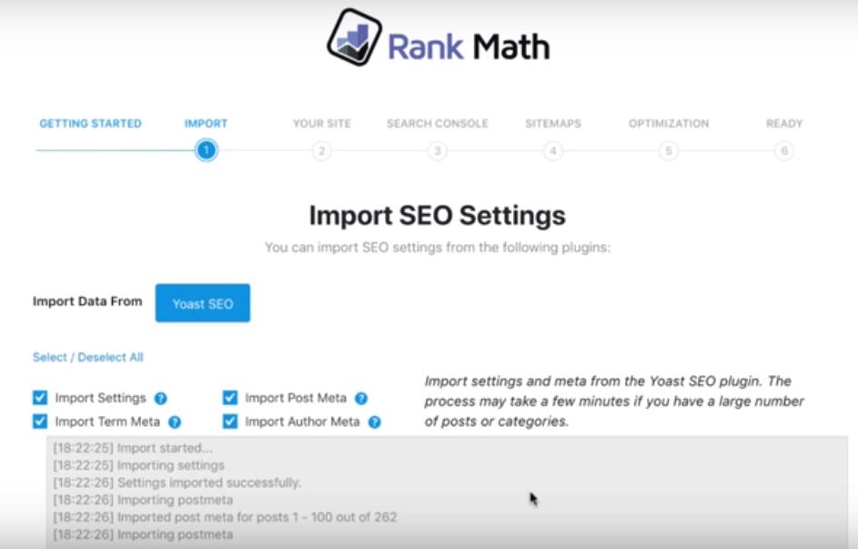 import data from yoast in rank math seo plugin