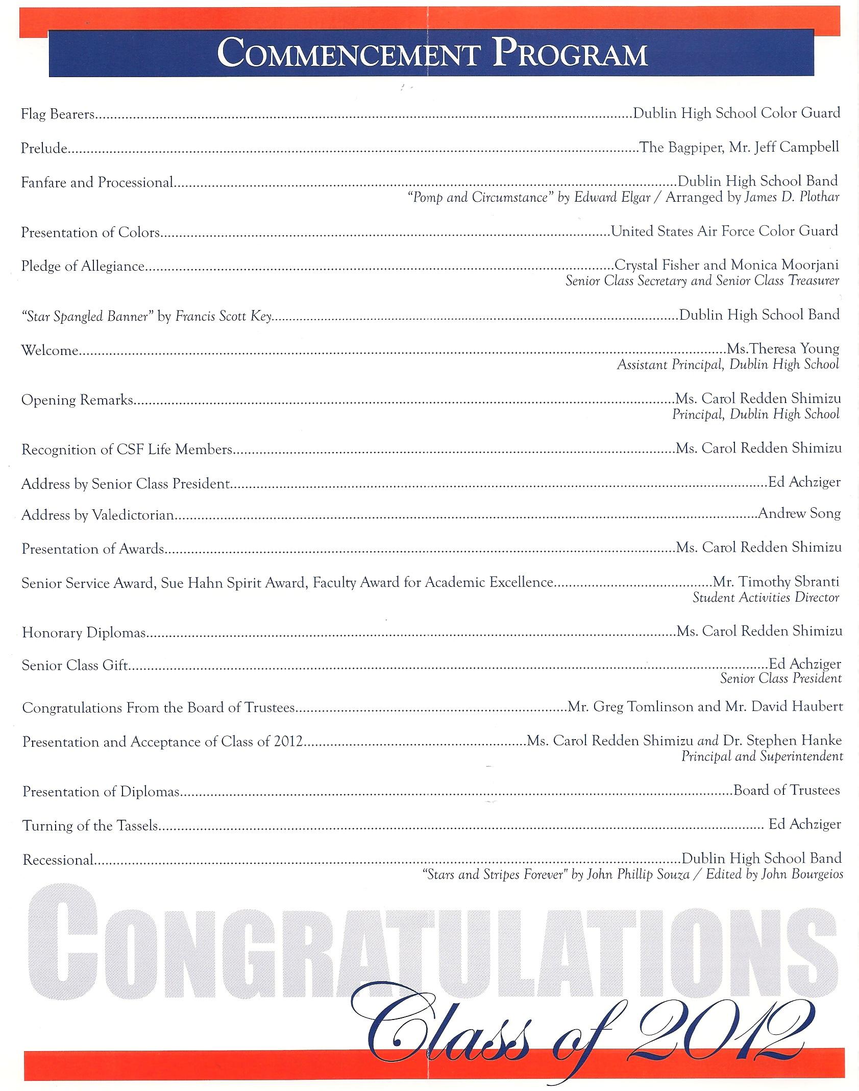 High School Graduation Ceremony Program