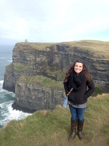 Jenny at the Cliffs of Moher in Ireland while studying abroad