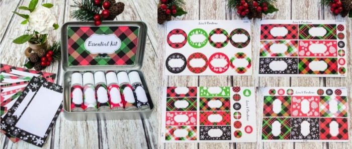 Christmas themed roller bottle labels