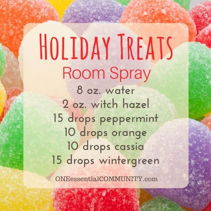 The 25+ BEST Christmas Holiday room spray recipes {made with essential oils}... Holiday Treats, Candy Cane Forest, Peace on Earth, Christmas Cheer, and more #essentialoils #essentialoilrecipes #essentialoilsprays #DIYroomsprays #Christmasroomsprays #essentialoilsforChristmas #homemadeChristmas #easyDIY
