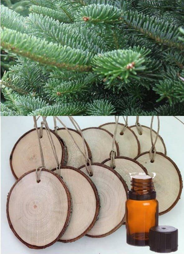 diy homemade diffuser ornaments made with essential oils-- How cute are these? Set of 10 wood slice tags (each is 2-2.5 inch diameter). Perfect for a gift tag or ornament. Add a few drops of white fir or douglas fir essential oil and even your artificial tree will smell like it was just cut fresh from the Christmas tree farm. Add a couple more drops of essential oil every few days as needed.