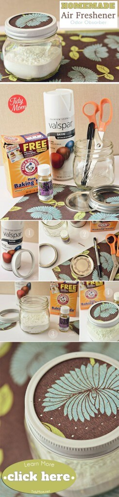 diy homemade air freshener made with essential oils-- Want the perfect little air freshener for a closet or mud room? Try baking soda and essential oils in a mason jar. Easy and effective!