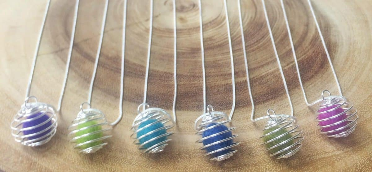 6 colorful wool felt balls in diffuser necklaces