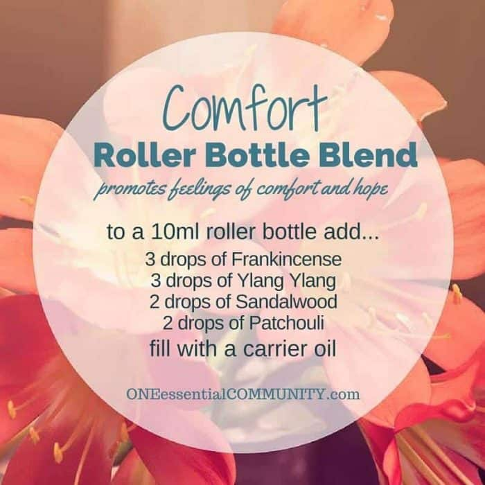 """comfort"" roller bottle blend promotes feelings of comfort and hope-- LOVE this!! amazing find! there are tons of great roller bottle blends {and FREE super cute labels} for all kinds of emotions-- calm, focus, grounding, balance, gratitude, happy, energy, comfort, motivation, courage, confidence, cheer, creativity, and more!!"