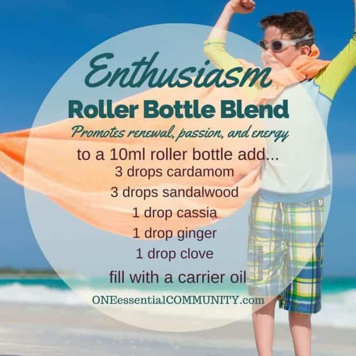 """enthusiasm"" roller bottle blend promotes renewal, passion, and energy-- LOVE this!! amazing find! there are tons of great roller bottle blends {and FREE super cute labels} for all kinds of emotions-- calm, focus, grounding, balance, gratitude, happy, energy, comfort, motivation, courage, confidence, cheer, creativity, and more!!"