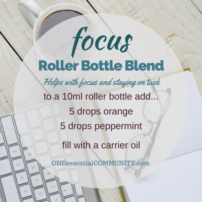 """focus"" roller bottle blend helps with focus and staying on task-- LOVE this!! amazing find! there are tons of great roller bottle blends {and FREE super cute labels} for all kinds of emotions-- calm, focus, grounding, balance, gratitude, happy, energy, comfort, motivation, courage, confidence, cheer, creativity, and more!!"