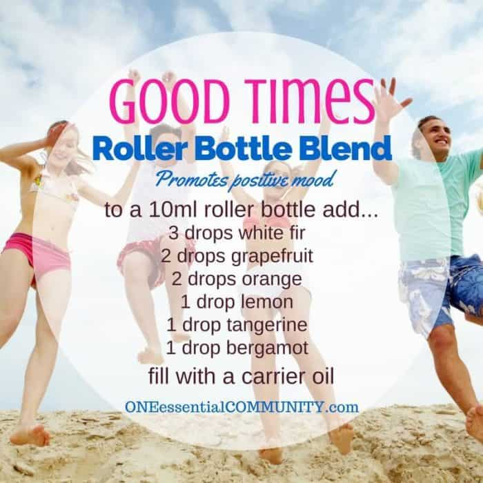 """good times' roller bottle blend promotes a positive mood-- LOVE this!! amazing find! there are tons of great roller bottle blends {and FREE super cute labels} for all kinds of emotions-- calm, focus, grounding, balance, gratitude, happy, energy, comfort, motivation, courage, confidence, cheer, creativity, and more!!"