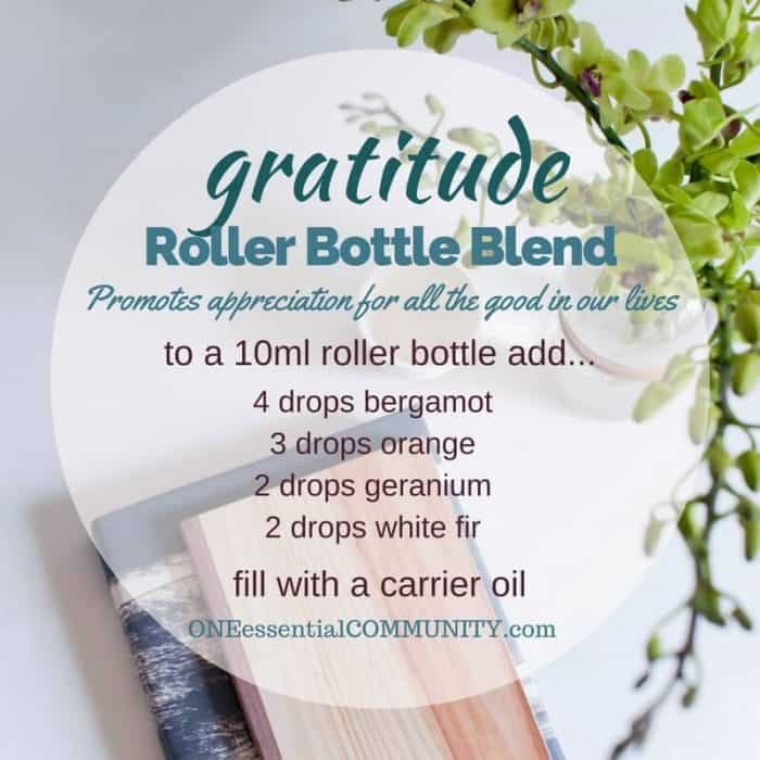 """gratitude"" roller bottle blend promotes appreciation for all the good in our lives-- LOVE this!! amazing find! there are tons of great roller bottle blends {and FREE super cute labels} for all kinds of emotions-- calm, focus, grounding, balance, gratitude, happy, energy, comfort, motivation, courage, confidence, cheer, creativity, and more!!"