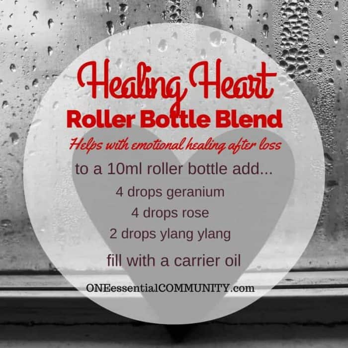 """healing heart"" roller bottle blend helps with emoitonal healing after a loss-- LOVE this!! amazing find! there are tons of great roller bottle blends {and FREE super cute labels} for all kinds of emotions-- calm, focus, grounding, balance, gratitude, happy, energy, comfort, motivation, courage, confidence, cheer, creativity, and more!!"