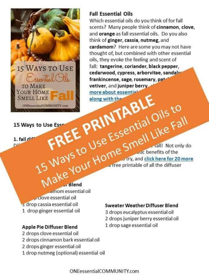 recipes and tips for ways to use essential oils to make your home smell like fall - fall diffuser blends, fall room sprays, fall fabric refreshers, & more! #essentialoils #essentialoilrecipes #diffuserblends #fallDIY #naturalDIY