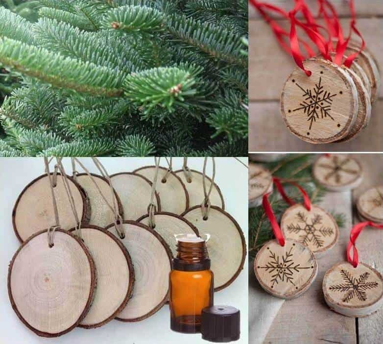 wood slice ornaments turned into essential oil diffusers for Christmas tree