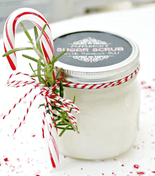 peppermint sugar scrub made with essential oils