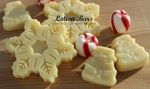 Snowflake and snowmen lotion bars made with essential oils