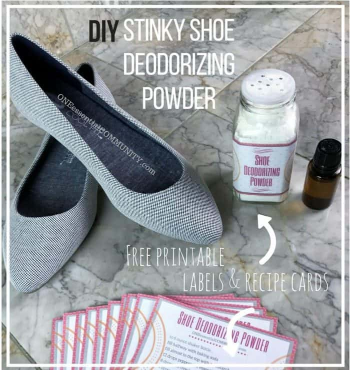 essential oils for stinky, smelly shoes -- Get rid of stinky shoes with easy, 3-ingredient natural solution. This DIY blend of essential oils eliminate even the most foul-smelling shoe odors. And there's even free printables for cute labels and recipe cards. Love it!