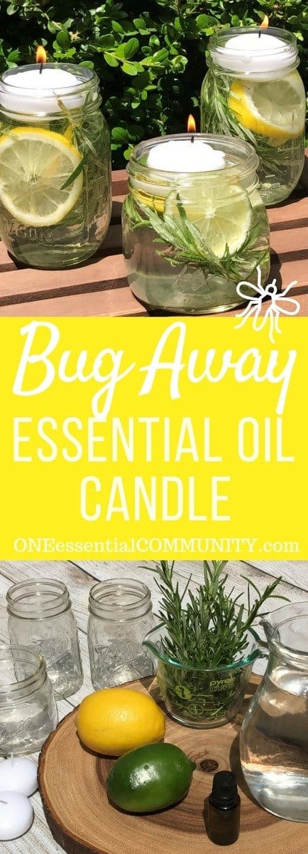 "keep mosquitoes, flies, and other bugs & insects away from your summer fun with these DIY all-natural ""Bug Away"" essential oil candles"