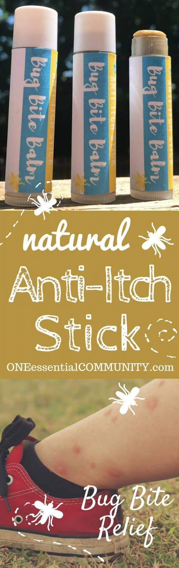 Got a bug bite, rash or other itchy nuisance? homemade natural anti-itch stick with essential oils. Itch relief in no time!