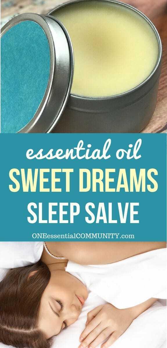 essential oil sweet dreams sleep salve by ONEessentialCOMMUNITY.com -- woman sleeping and container of homemade sleep rub