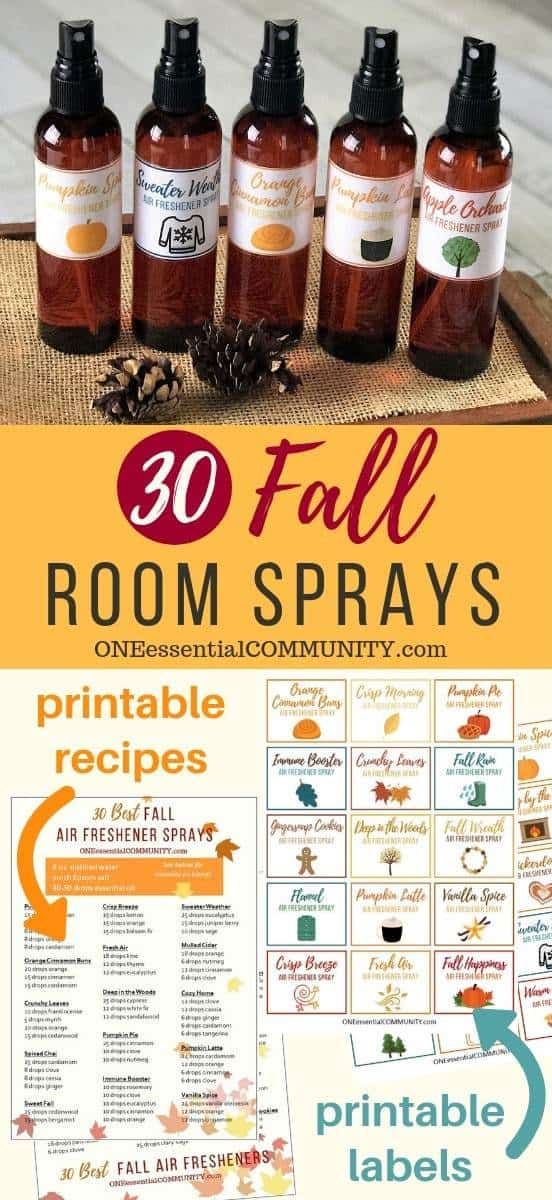 30 fall room spray recipes with essential oils. Easy to make all-natural homemade air freshener sprays in about 30 seconds. recipes for pumpkin pie, apple orchard, gingersnap cookies, vanilla spice, orange cinnamon buns, spiced chai, sweater weather, flannel, immune booster, apple pie, and many more. essential oil room spray, DIY air freshener, essential oil recipes, essential oil DIY, homemade room spray, fall DIY, #essentialoilrecipe #essentialoilDIY #doterra #youngliving