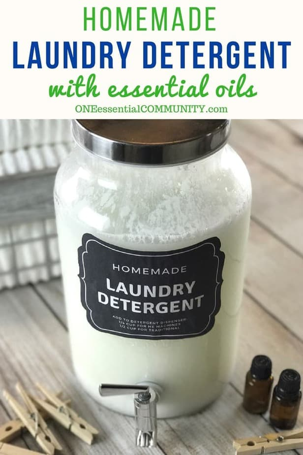 homemade HE liquid laundry detergent recipe with essential oils. natural, non-toxic, & it really works! Removes odors, cleans clothes, rinses clean. doTERRA, Young Living, essential oil laundry detergent, essential oil cleaning recipes, essential oil DIY