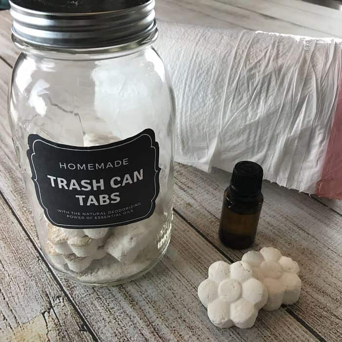 Freshen and eliminate trash can odors naturally with these easy-to-make homemade essential oil trashcan deodorizing tabs. {no more stinky, smelly trash cans, garbage cans, wastebaskets} essential oil trash can odor recipe #essentialoils #essentialoilrecipes #essentialoilDIY #stinkytrash #deodorizingtabs #essentialoilcleaning #naturaldeodorizer