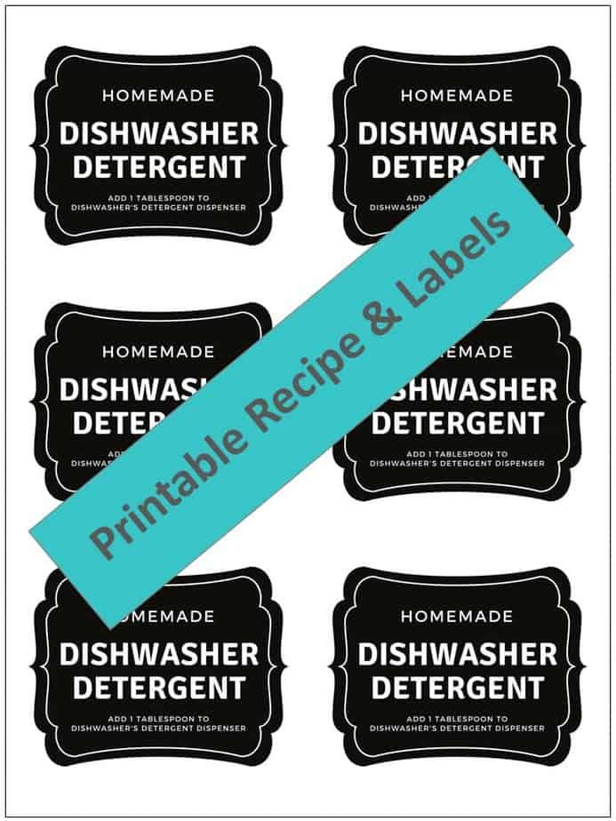 Easy-to-make natural dishwasher detergent recipe-- for clean, sparkling dishes without using harsh, toxic chemicals. {made with essential oils} DIY essential oil recipe for dishwasher detergent. #essentialoils #essentialoilrecipes #essentialoilcleaning #naturalDIY #naturalcleaning #homemadedishwasherdetergent #DIYcleaning #essentialoilDIY #essentialoilsforkitchen #easyDIY