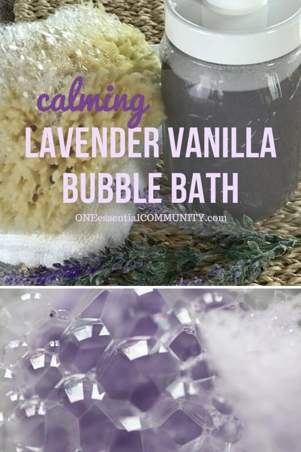 DIY lavender vanilla bubble bath recipe - vanilla oleoresin and lavender essential oil combine to make a warm floral scent that helps you relax, unwind, and let go. After soaking in a tub of this calming lavender vanilla bubble bath, get a great night's sleep. #essentialoils #essentialoilrecipes #naturalbeauty #DIYrecipes #yleo Young Living #doterra #essentialoiluses lavender essential oil, lavender bubble bath, diy bubble bath, essential oil bubble bath