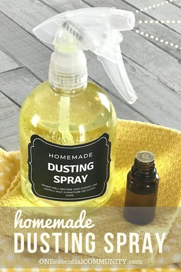 DIY dusting spray with essential oils- cleans and repels dust so you clean less often. Plus it moisturizes, nourishes, and protect wood. It's like a combined dusting spray and wood polish. {free printable label, essential oil recipe, essential oil cleaning, homemade dusting spray, essential oil spray}, natural cleaning} #essentialoilrecipes #DIYessentialoil #naturalcleaning #doTERRA #Young Living
