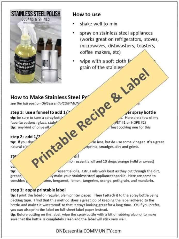 DIY Stainless Steel Polish- easy, 3 ingredient cleaning recipe. Natural, non-toxic, made with essential oils. Gets rid of fingerprints, smudges, dirt and grime. Creates clean, sparkly, shiny finish free of fingerprints and smudges. essential oil recipe, essential oil DIY, natural cleaning, essential oil cleaning, doTERRA, Young Living, Plant Therapy
