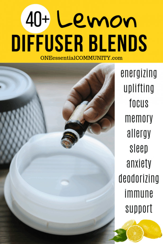 free printable with 40+ lemon essential oil diffuser blend recipes organized by lemon's therapeutic benefits: energy, uplifting, focus, memory, immune, allergies, sleep, anxiety, and deodorizing. And if you're missing an essential oil that's in a diffuser blend, don't worry. There's a list of substitute oils that also blend well with lemon. {essential oil recipes, diffuser blends, lemon essential oil uses, doTERRA, Young Living, Plant Therapy, natural remedies, DIY recipes, natural DIY}