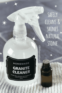 best DIY Granite Cleaner ever! safely cleans & shines natural stone like granite, marble, limestone, quartz, and slate. Made with lemon essential oil it deeply cleans, disinfects, and sanitizes kitchen counters, showers, fireplace surrounds, tables, and other natural stone surfaces. best of all, it gives counters super shine and sparkling finish. {DIY cleaning, DIY recipe, natural DIY, natural cleaner, essential oil recipe, doTERRA, Young Living, Plant Therapy}