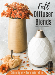 Fall Diffuser Blends by ONEessentialCOMMUNITY.com - click for a free printable of all 30 diffuser recipes -- diffuser, tall vase with orange flowers, velvet pumpkin, and essential bottle