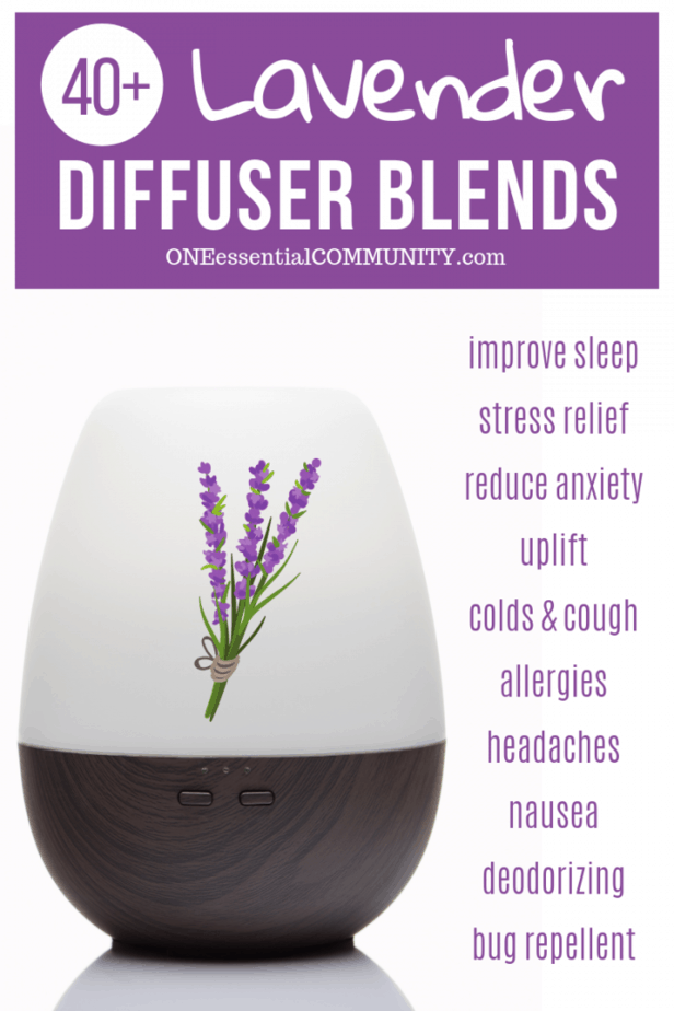 lavender essential oil diffuser blend recipes {with free printable} -- sleep, stress, anxiety, sadness, cold, congestion, allergies, headache, nausea, deodorizing, bug repellent by ONEessentialCOMMUNITY.com