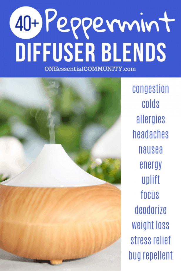 40+ peppermint essential oil diffuser blend recipes for congestion, colds, allergies, headache, nausea, energy, uplift, focus, weight loss, stress, and bug repellent -- essential oil recipes, diffuser blends, #doTERRA #Young Living #essentialoils #essentialoilrecipes doTERRA, Young Living
