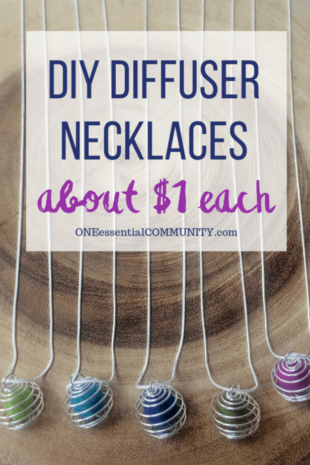 pinterest title image for how to make essential oil diffuser necklaces in under one minute for only about $1 each